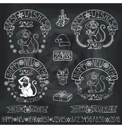 New year 2016 monkey labelsdecorationchalkboard vector