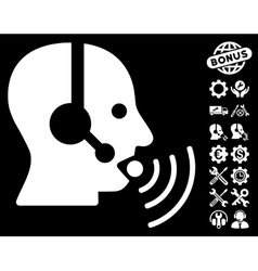 Operator talking sound waves icon with vector