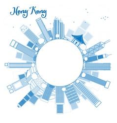 Outline Hong Kong skyline vector image