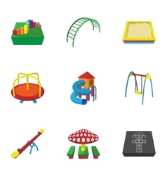 Play in yard icons set cartoon style vector