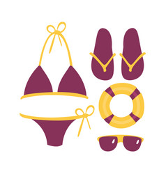 Purple swimsuit with beach accessories beach and vector