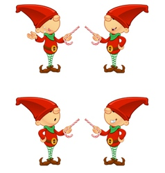 Red Elf Pointing With Candy vector image vector image