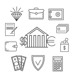 save money or finance line art concept vector image