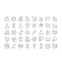 set flat line icons chemistry vector image vector image