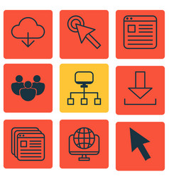 Set of 9 internet icons includes save data vector