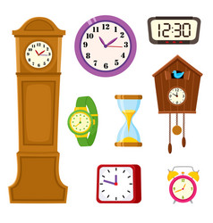 set of clock watch and hourglass cartoon icons vector image