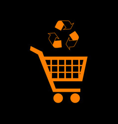 Shopping cart icon with a recycle sign orange icon vector