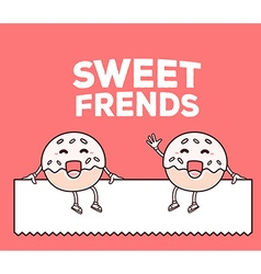 smile sweet donut friends sitting on whit vector image vector image