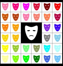 Tragedy theatrical masks felt-pen 33 vector