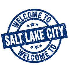 Welcome to salt lake city blue stamp vector