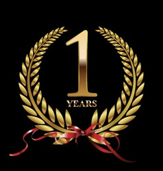 1 year anniversary laurel wreath vector