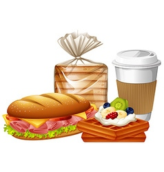 Breakfast set with waffles and bread vector