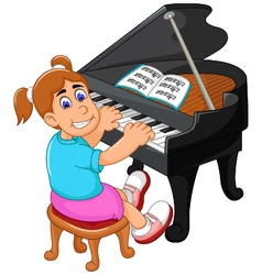 Funny girl cartoon playing piano vector