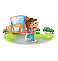 A girl going home from school vector image
