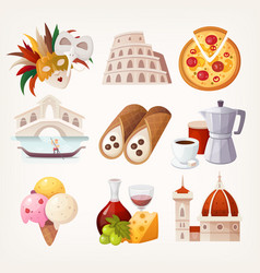 Stickers with sights and famous food of italy vector