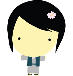 Cute little japanese girl vector image