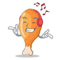 Listening music fried chicken character cartoon vector