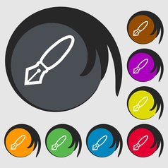 Pen icon sign symbol on eight colored buttons vector