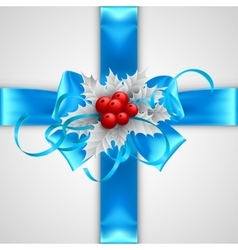 Blue bow with christmas decorations isolated on vector