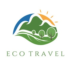 Eco travel wit mountains and trees vector