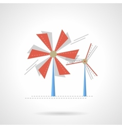 Saving energy flat color icon wind turbine vector