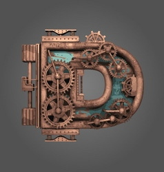 D rusted letter with gears vector