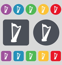 Harp icon sign a set of 12 colored buttons flat vector