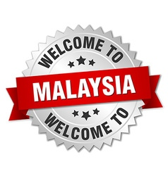 Malaysia 3d silver badge with red ribbon vector