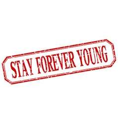 Stay forever young square red grunge vintage vector