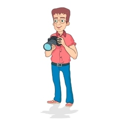 Smiling photographer holding camera on white vector