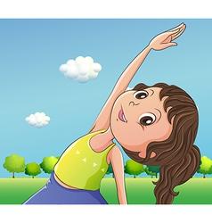 A cute little girl exercising vector