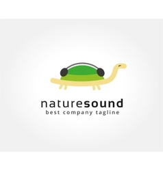 Abstract turtle with music logo icon concept vector