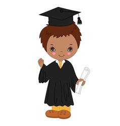 African american little boy graduating vector