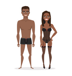 black african american man and woman in lingerie vector image