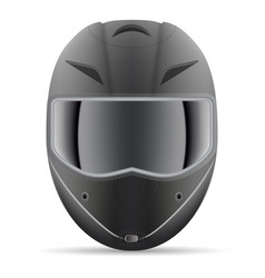 Black motorcycle helmet front view isolated on a vector