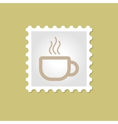 Cap of tea or coffee stamp vector