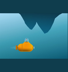 Cartoon submarine with man inside floats vector