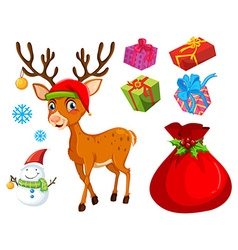 Christmas theme with reindeer and snowman vector