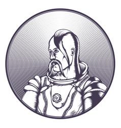 cossack in cosmonaut costume black vector image vector image