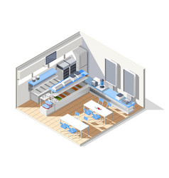 eating house isometric composition vector image vector image