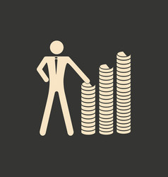 Flat in black and white people at stacks of coins vector