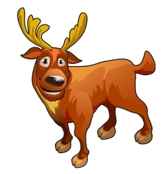 Funny cartoon deer with yellow horns vector