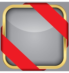 Golden blank app icon with red ribbon vector image vector image