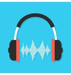 headphones and equalizer with shadow vector image vector image