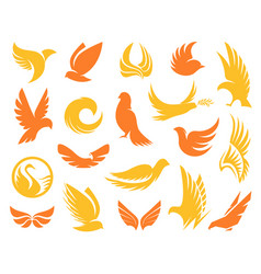 Isolated abstract yellow and orange color birds vector