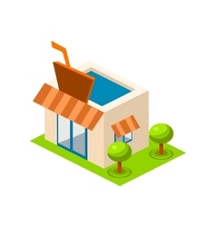 Isometric bar building icon infographic vector