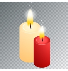 Isometric candle with fire animation on vector