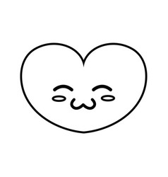 Line cute heart kawaii character design vector