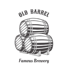 Logo design with wooden beer barrels for pab vector image vector image