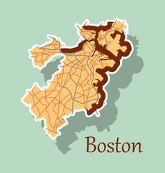 Map of boston city sticker vector